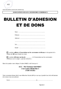 Bulletin d'adhesion et don